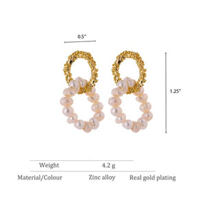 Glass Pearl Contrast Double Hoop Earrings
