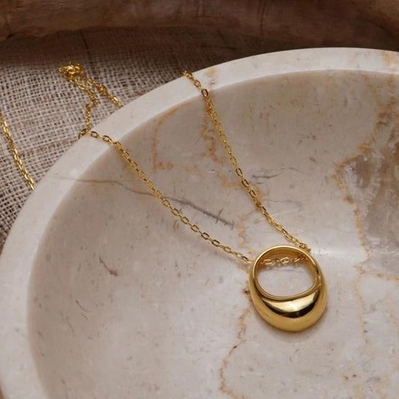 Gold Ring Pendant Necklace