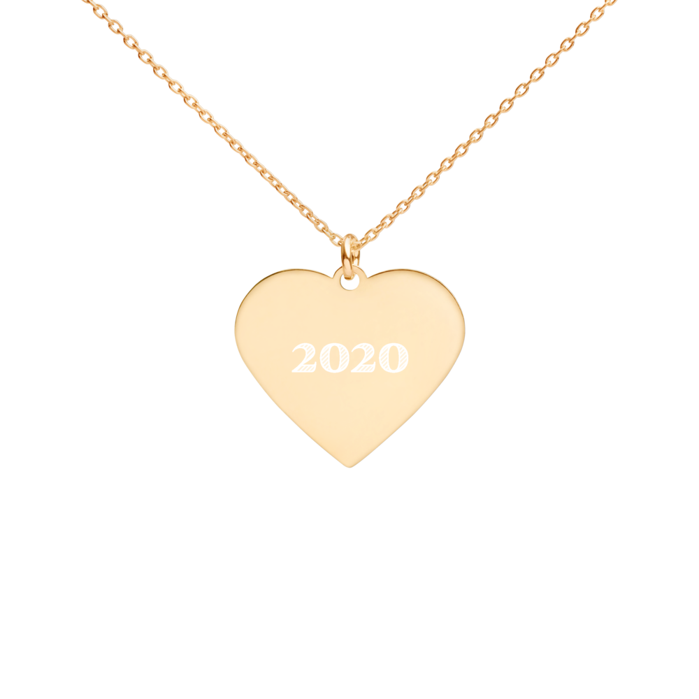 2020 Engraved Silver Heart Necklace (24K Gold Plating) - NO-HURRY SHIPPING