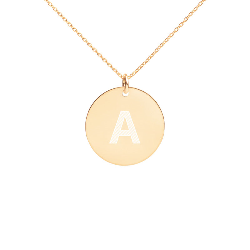 Personalized Letter Engraved Silver Disc Necklace - NO-HURRY SHIPPING