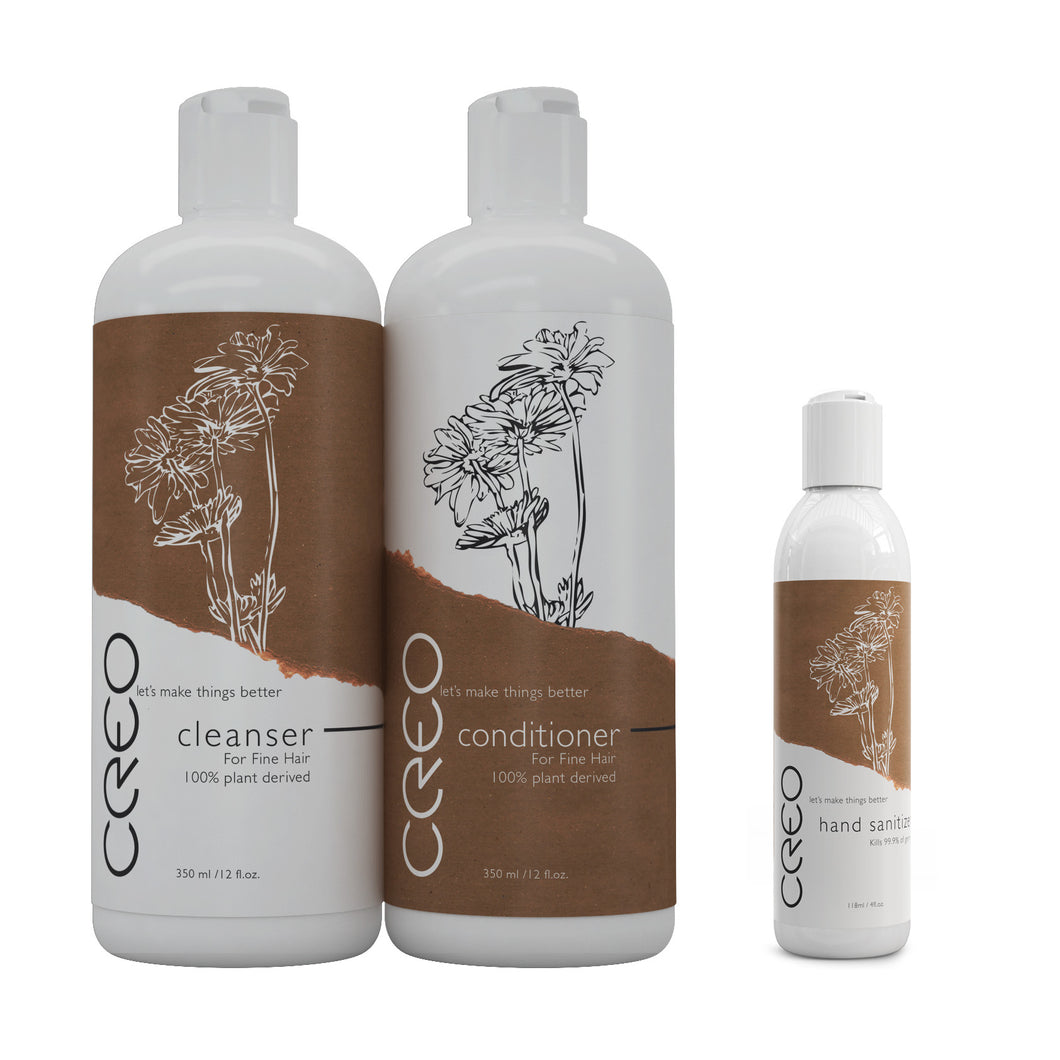CREO Professional Cleanser and Conditioner Set - FREE Hand Sanitizer with every order