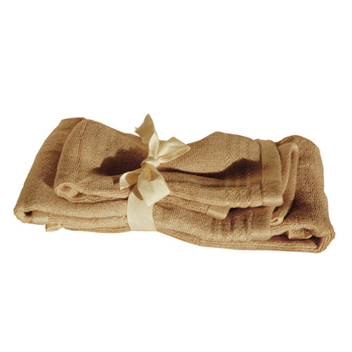 Bamboo Guest Towels Set (2-pcs: hand & face towels) Bamboo Bath Linens 4 sets / latte brown - SHOO-FOO, the softness of bamboo