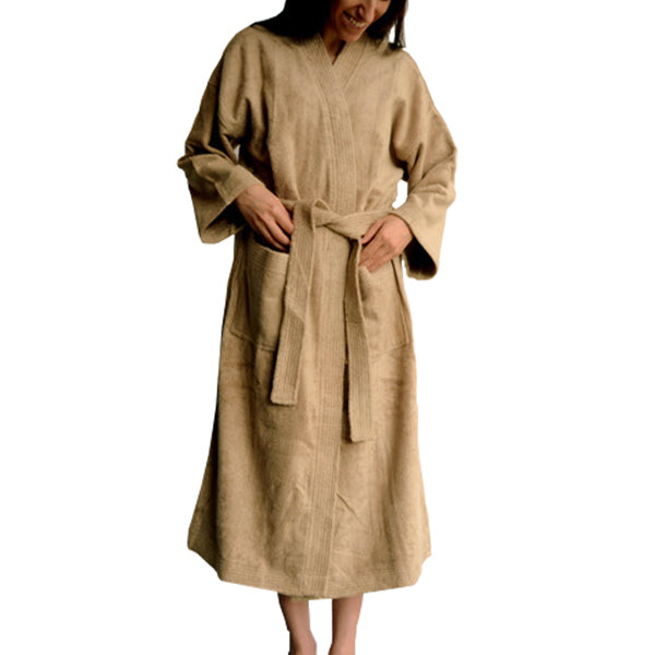 Bamboo Bathrobe (housecoat) - Kymono style - Unisex Bamboo Bath Linens latte brown / Small / 1 Bathrobe - SHOO-FOO, the softness of bamboo