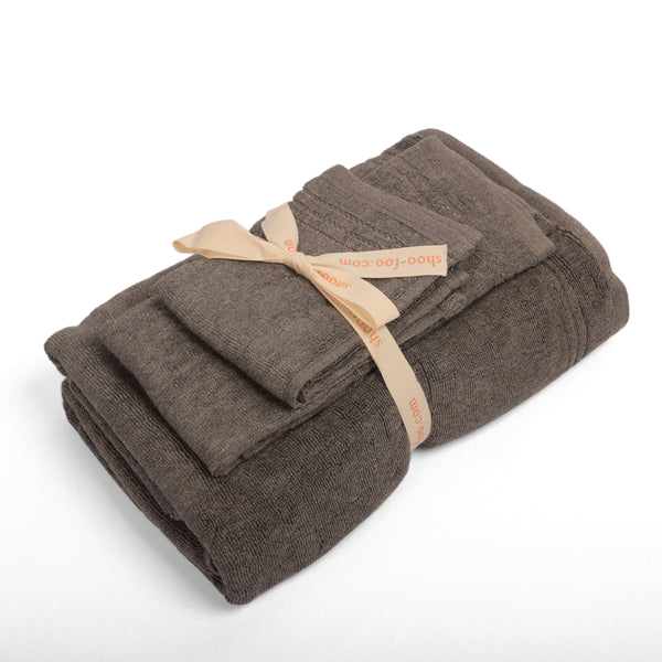 Bamboo Charcoal Towels (3 Piece Set) - Charcoal Grey