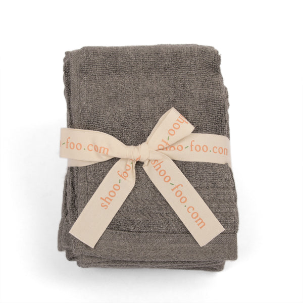 Bundle of 4 Charcoal Bamboo Face Towels (washcloths) Bamboo Bath Linens 1 bundle - SHOO-FOO, the softness of bamboo