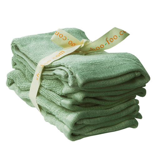 Bundle of 4 Bamboo Face Towels (washcloths) Bamboo Bath Linens sage green / 1 bundle - SHOO-FOO, the softness of bamboo