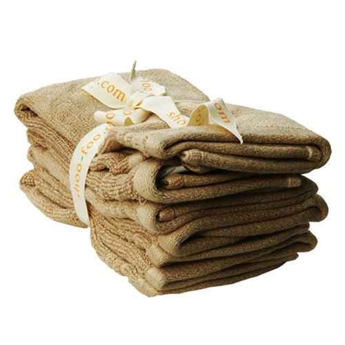 Bundle of 4 Bamboo Face Towels (washcloths) Bamboo Bath Linens latte brown / 1 bundle - SHOO-FOO, the softness of bamboo