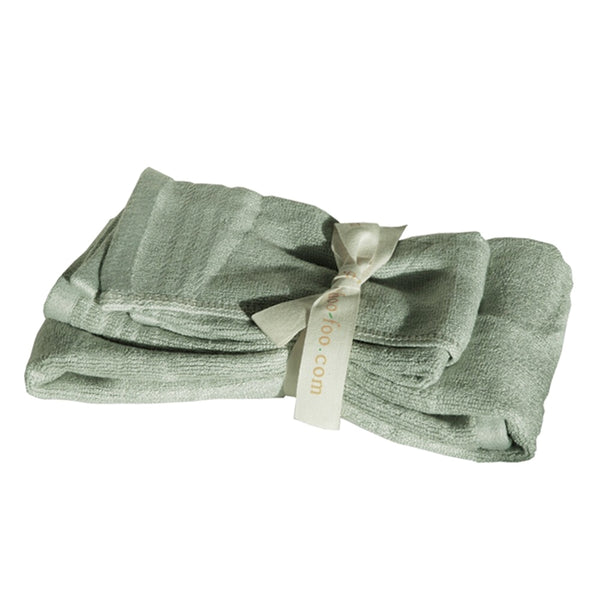 Bamboo Guest Towels Set (2-pcs: hand & face towels) Bamboo Bath Linens 2 sets / sage green - SHOO-FOO, the softness of bamboo