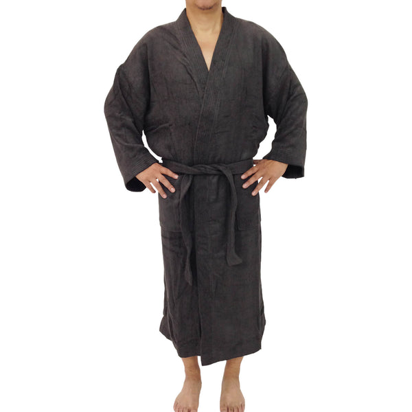 Charcoal Bamboo Bathrobe (housecoat) - Kymono style - Unisex Bamboo Bath Linens Charcoal / s / 1 Bathrobe - SHOO-FOO, the softness of bamboo
