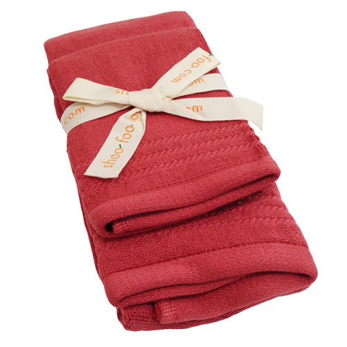 Bamboo Guest Towels Set (2-pcs: hand & face towels) Bamboo Bath Linens 4 sets / cayenne red - SHOO-FOO, the softness of bamboo