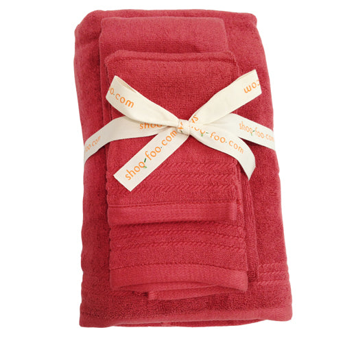 Bamboo Bath Towels Spa Set (3-pcs set: bath, hand, face towels) Bamboo Bath Linens cayenne red / 1 Set - SHOO-FOO, the softness of bamboo