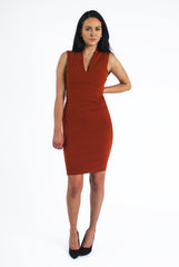 Rust Deep V Neckline Dress