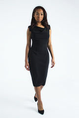 Black Half Cowl Neck Dress