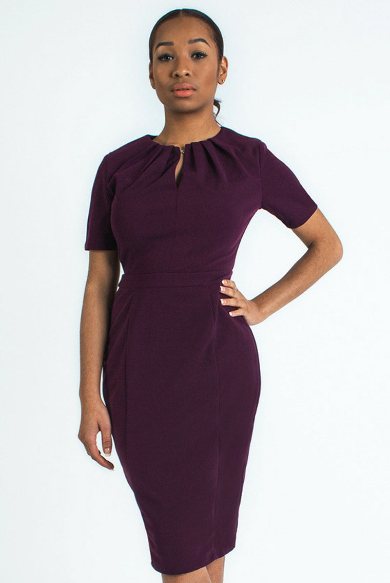 Purple Top Pleated Hook Dress