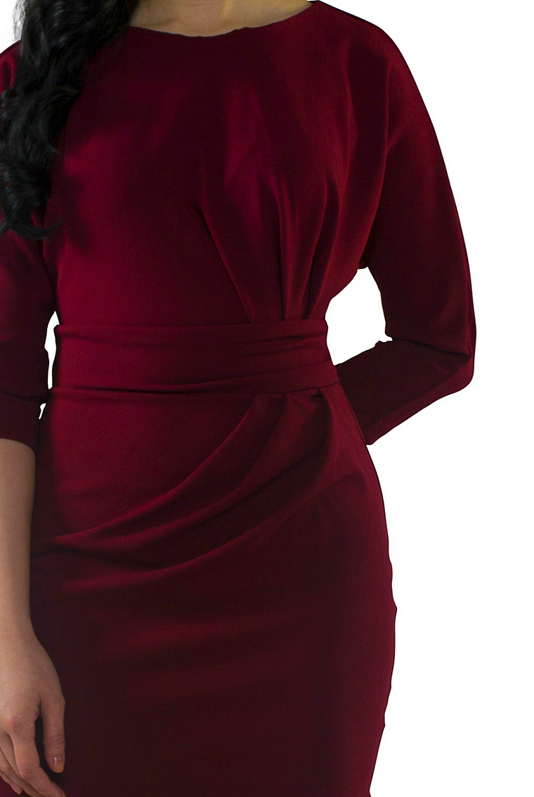 Wine Ruched Side Dress