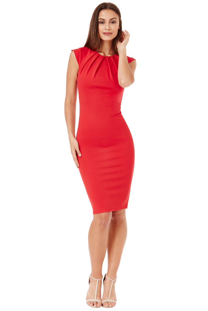 Red Bodycon Front Pleat Dress