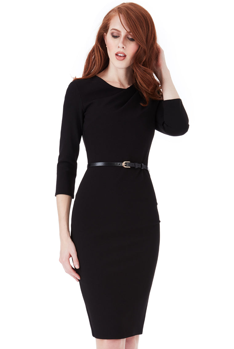 Black Belted Shoulder Pleat Dress