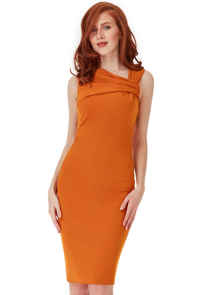 Rust Sleeveless Right Angled Dress