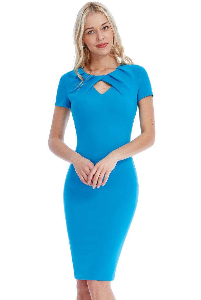 Turquoise Keyhole Bodycon Dress