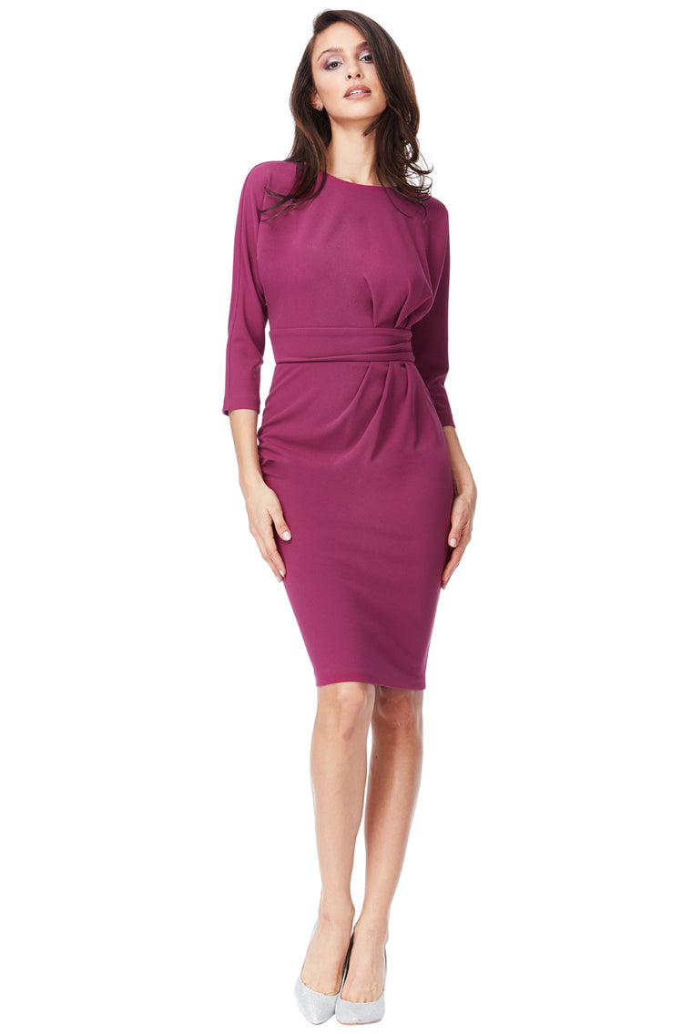 Magenta Ruched Side Dress