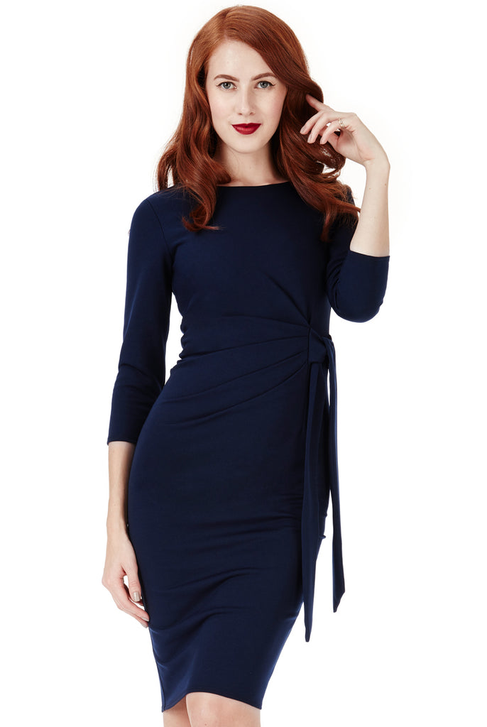 Navy Tie Knot Detail Dress