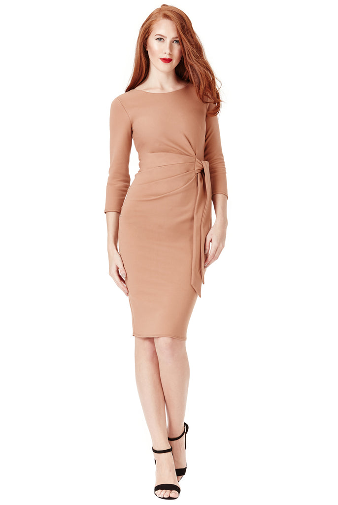 Nude Tie Knot Detail Dress