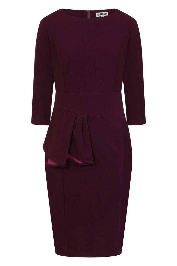 Purple Side Peplum Pleated Dress