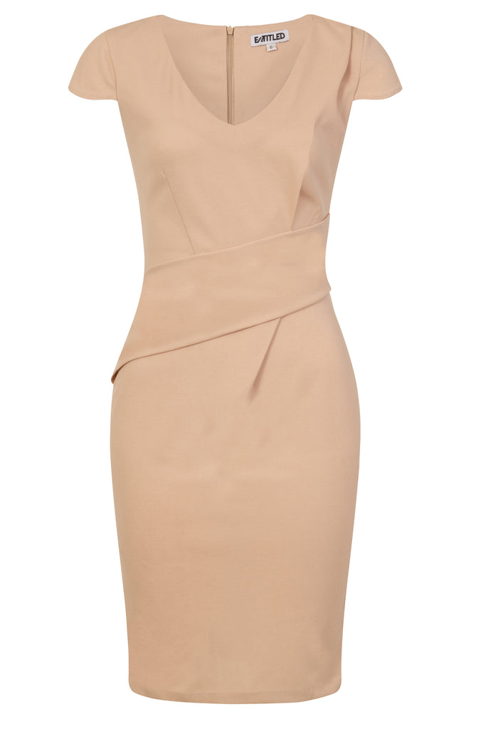 Beige Front Wrap Dress