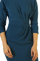 Teal Ruched Side Dress