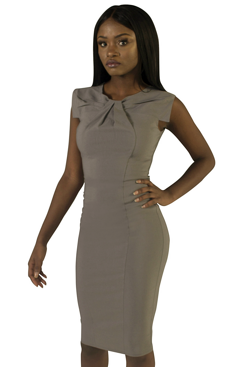 Grey Imani Front Pleat Dress