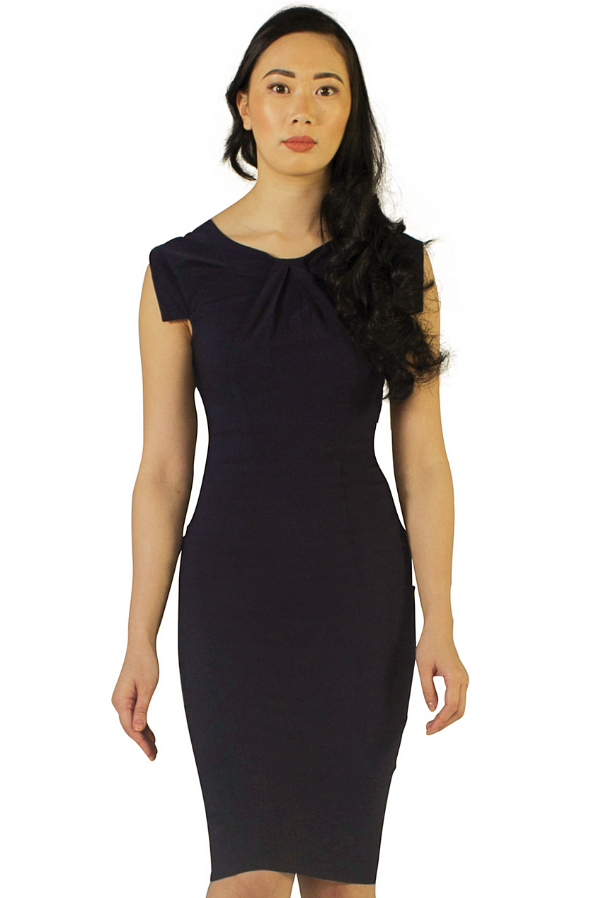 Navy Imani Front Pleat Dress