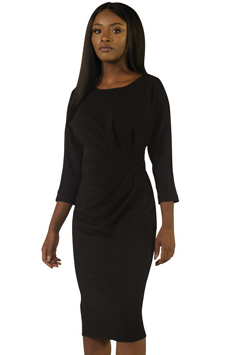 Black Ruched Side Dress