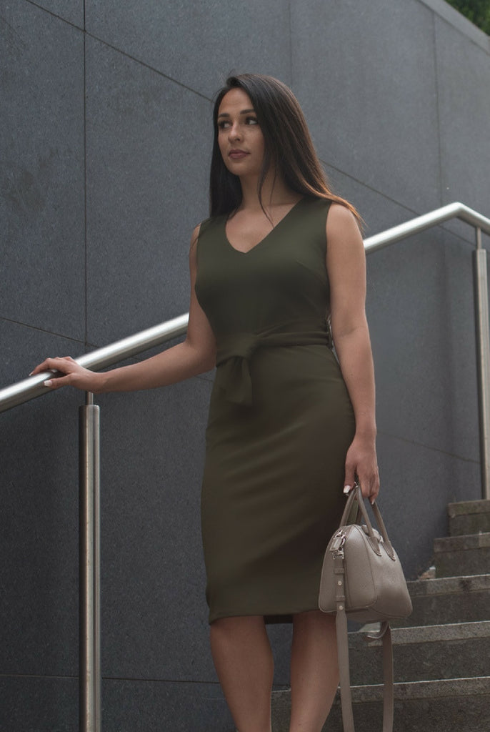 Khaki Belted Midi Dress