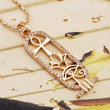 Eye of Horus Lotus and Ankh Amulet Gold Necklace