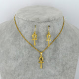 Ankh Pendant Chain,and Earrings set