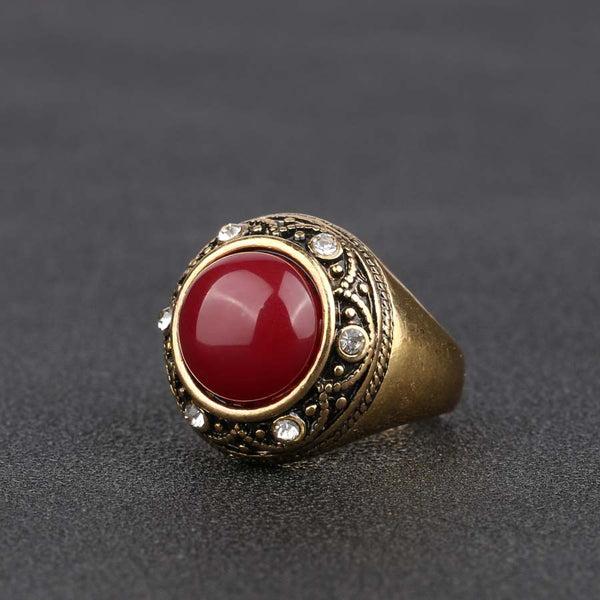 Luxury Red Resin Ring Gold Color Jewelry For Women