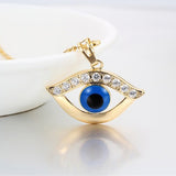 Gold Color Blue Evil Eyes Pendant Necklace