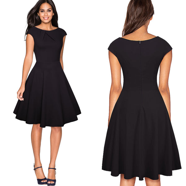 O-Neck A-Line Pinup Flare Swing Dress