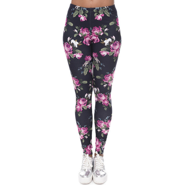 Purple Roses High Waist Soft Leggings