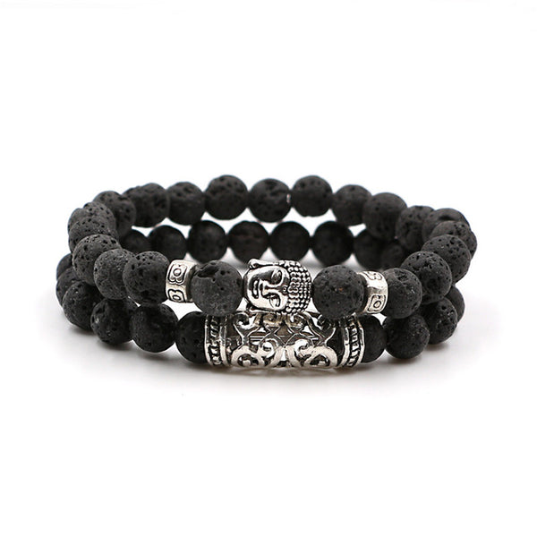 Men/Woman Natural Lava Stone Beads Buddha Bracelet