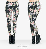 Fresh Black Roses Leggings For Women