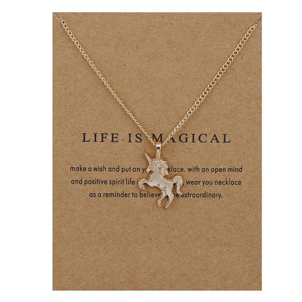 "Make A Wish Necklace: ""Life is Magical"" Big Unicorn"