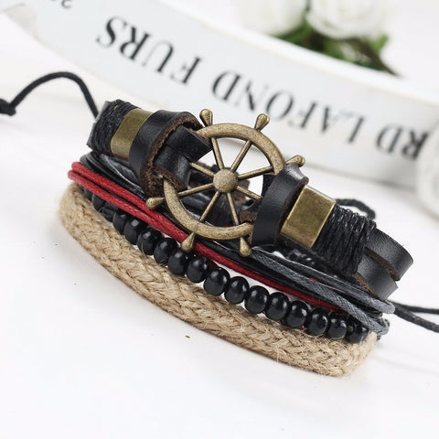 Wood Rope Beads Tribal Multi layer Leather Bracelets