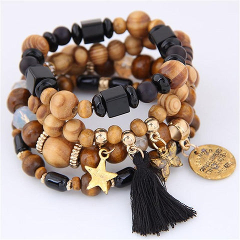 Adventure Multi Strand Wood Beads Bracelet