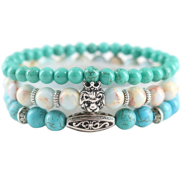 Natural Stones Beaded Lion Bracelets (3 for the Price of 1)