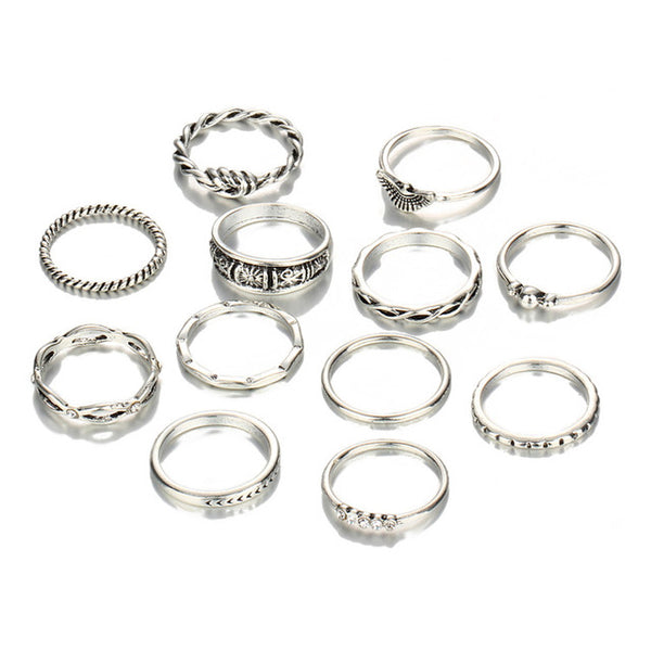 12 Pc/set Charm Gold Color Ring Set for Women