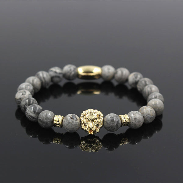 Natural Marble Stone Lion Head Bead Bracelet