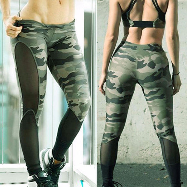 New Women Camo Mesh Fashion Leggings