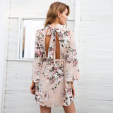 Simplee Backless Flare Sleeve Floral Dress