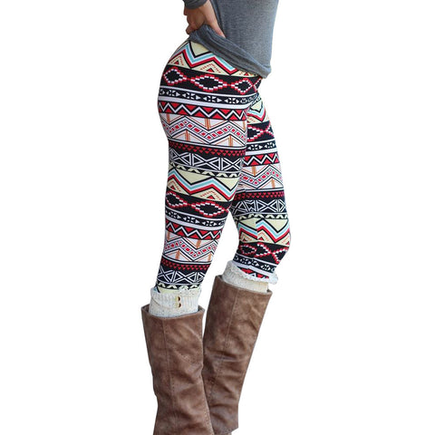 High Waisted Geometric Pattern Leggings for Women